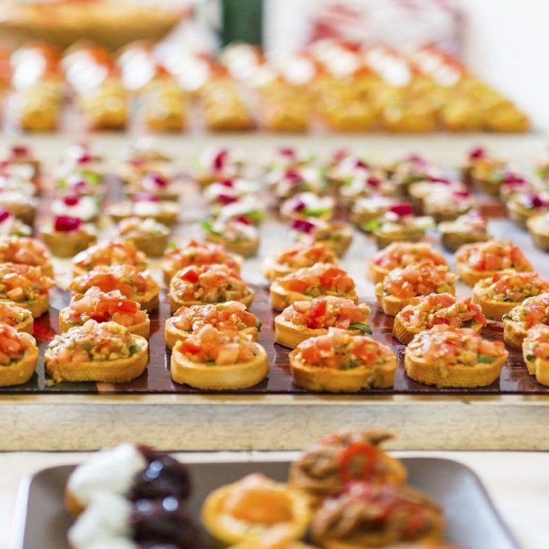 Large variety of fresh canapes for event